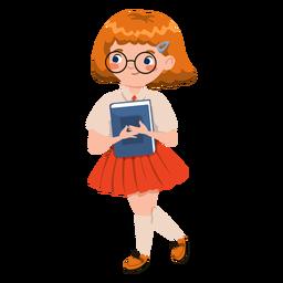 Menina segurando o personagem do livro