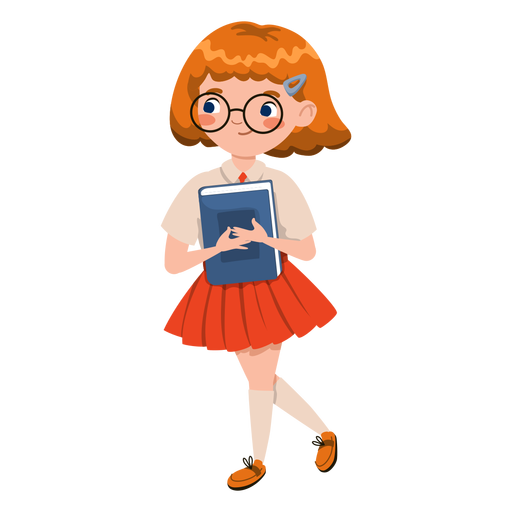 Girl holding book character