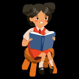 Menina lendo livro personagem menina