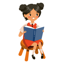 Niña leyendo libro personaje chica