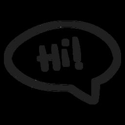 Hola doodle de burbujas de discurso