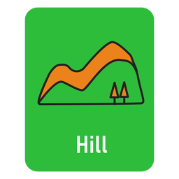 Hill green flashcard