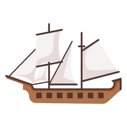 Historic caravel ship illustration