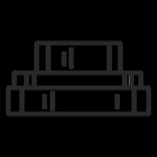 Horizontal piled books stroke Transparent PNG