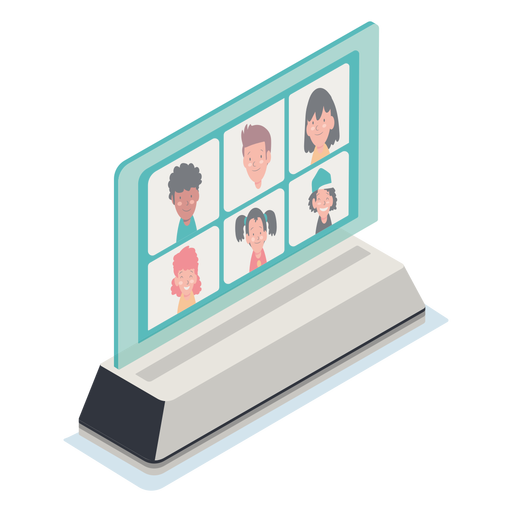 Kids in video call illustration