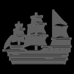 Gran barco histórico de carabelas negro