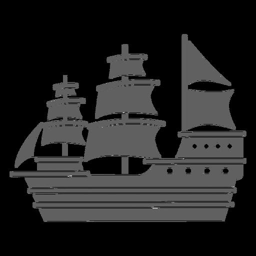Large historic caravel ship black