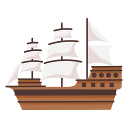Large historic caravel ship illustration