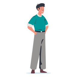 Man with hands in pocket character