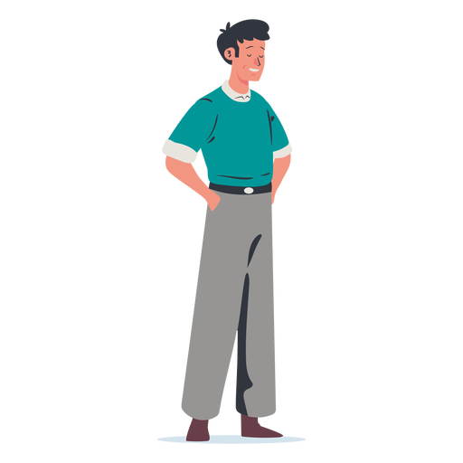 Man with hands in pocket character Transparent PNG