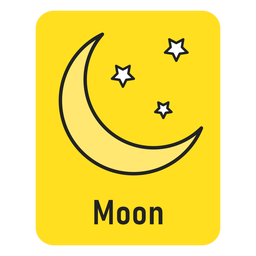 Moon yellow flashcard