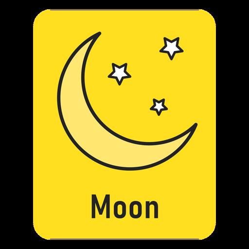 Moon yellow flashcard