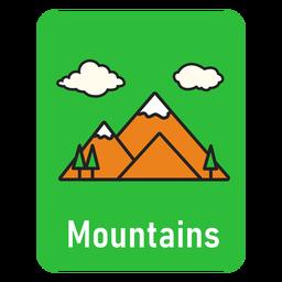 Mountains green flashcard