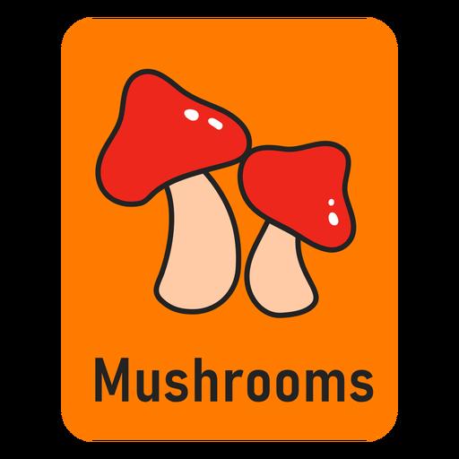 Mushroom orange flashcard