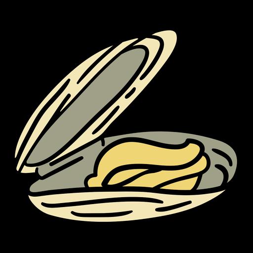 Dibujado a mano plato de mejillones