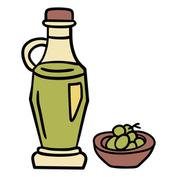 Olive bottle hand drawn