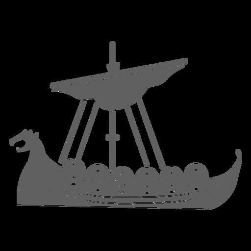 One sail viking ship black