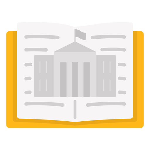 Open book with building Transparent PNG