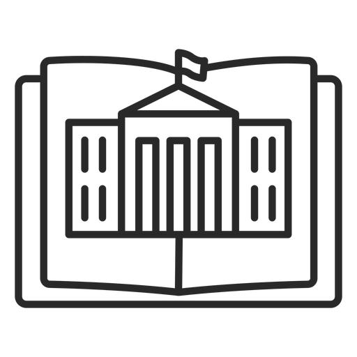 Open book with building stroke Transparent PNG