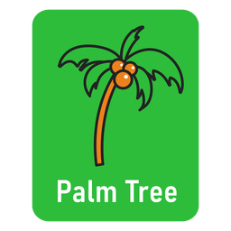 Palm tree green flashcard