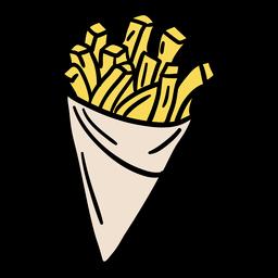 Papas fritas de cono de papel dibujado a mano