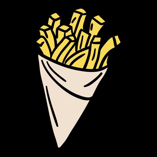 Cone de papel frita desenhado à mão
