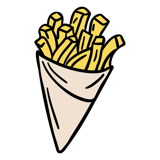 Paper cone fries hand drawn
