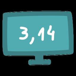 Número de pi en pantalla