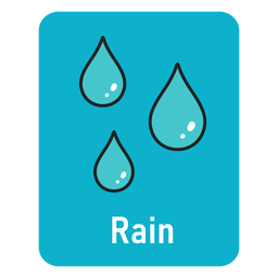 Rain lightblue flashcard