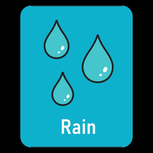 Rain lightblue flashcard