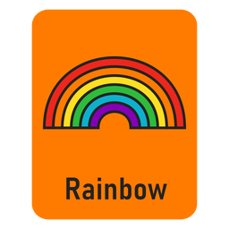 Rainbow orange flashcard