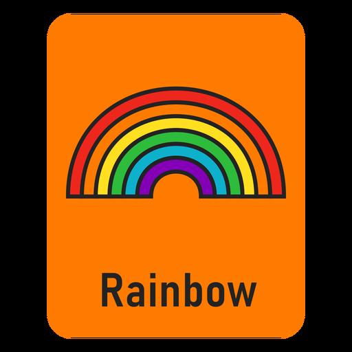 Rainbow orange flashcard