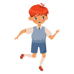 Red head boy running character