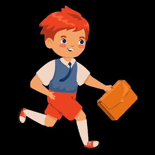 Personaje de maleta de niño cabeza roja