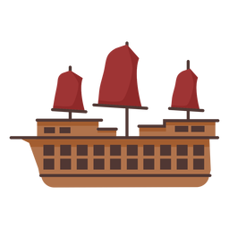Red sail caravel illustration
