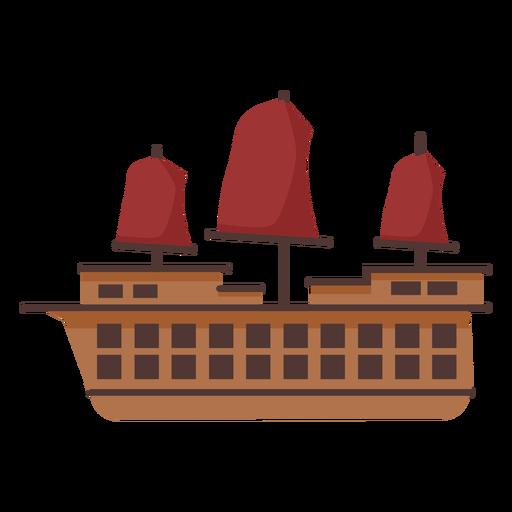 Red sail caravel illustration