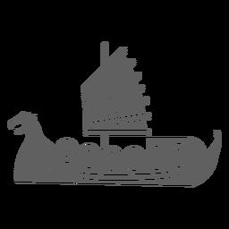Vela vermelha escudo navio preto