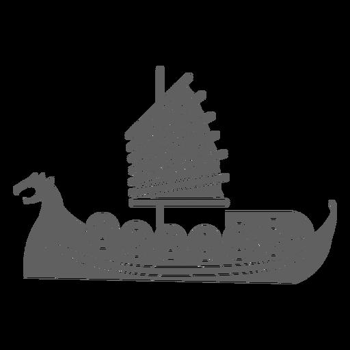 Red sail shield ship black