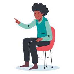 Sitting man pointing character