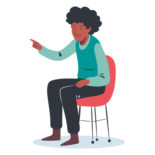 Sitting man pointing character Transparent PNG