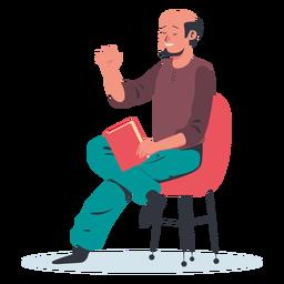 Sitting man talking character