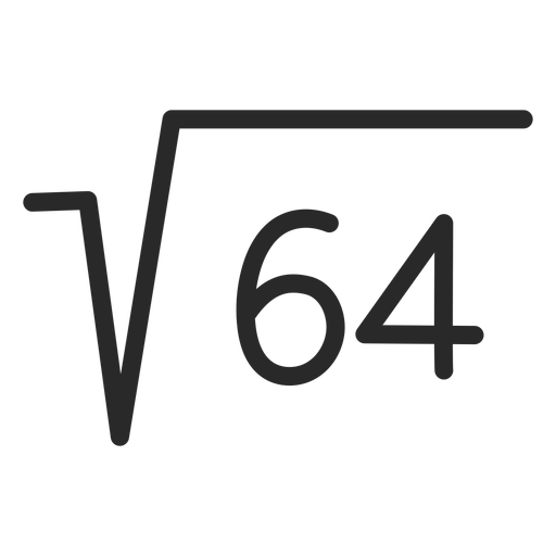 Raíz cuadrada 64 trazo