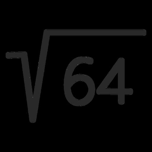Square root 64 stroke
