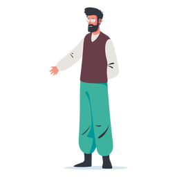 Standing man presenting character