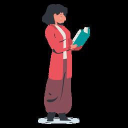 Mulher em pé lendo personagem