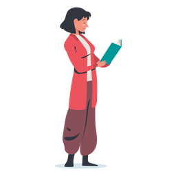 Stehende Frau, die Charakter liest