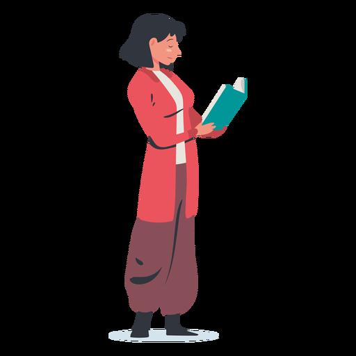 Personaje de lectura de mujer de pie Transparent PNG