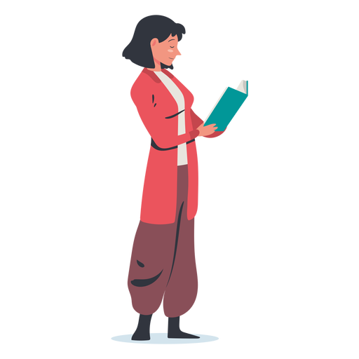 Standing woman reading character