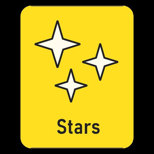 Stars yellow flashcard