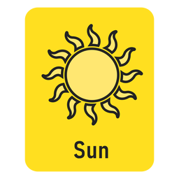 Sun yellow flashcard
